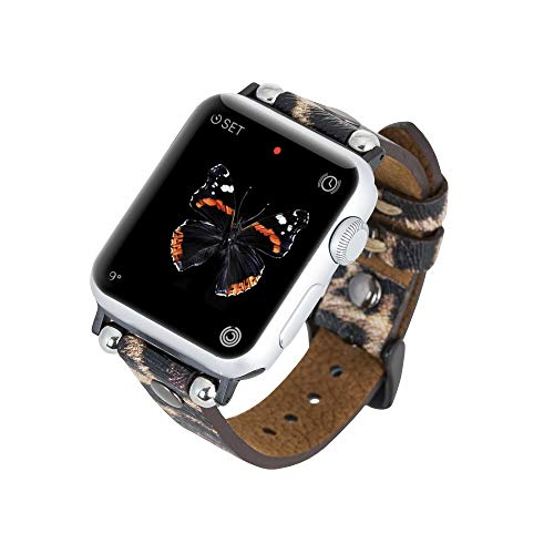 Venito Perugia Premium Leather Slim Watch Band Strap w/ Gold Studs Compatible w/Apple Watch Series 1,2,3,4,5,6 w/ Stainless Steel Hardware (Leopard Pattern w/Silver Connector & Clasp, 38mm-40mm)