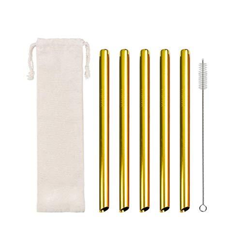 Pajita de acero inoxidable reutilizable con 1 cepillo de limpieza para batidos, cócteles y bebidas calientes (B).