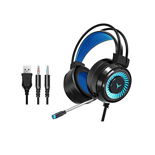 HUAHU Auriculares para Juegos con Micrófono Auriculares con Cable de Sonido Estéreo Envolvente USB con Luz LED sobre La Oreja para Pc/Laptop