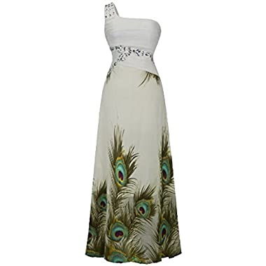 Angel-fashions Women's One Shoulder Peacock Party Peplum Chiffon Wedding Dress XX-Large
