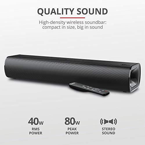 Trust Lino HD Soundbar mit Bluetooth, Lautsprecher für PC/TV/Smartphone/Tablet (DSP-Technologie 40 W RMS / 80 W Spitzenleistung, Sowohl Kabellos über Bluetooth, mit Fernbedienung) Schwarz