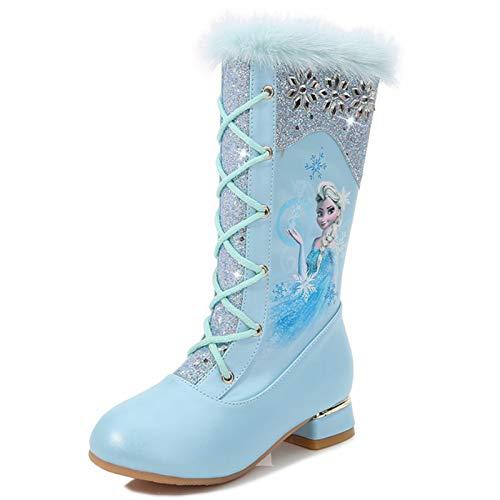Ramonala Botas de Nieve Niña Botas Princesa Elsa con Forro Cálido Niño Botas de Invierno Botas de Hielo Azul Rosado Lentejuelas Cordón Botas Altas Niña Princesa Partido Disfraz Botas de Tacon Alto