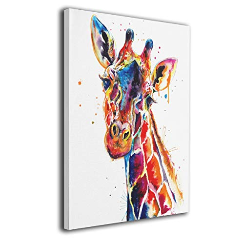 LP ART Canvas Print Wall Art Watercolor Annimals Giraffe Painting for Living Room Bedroom Modern Home Decor Ready to Hang Stretched and Framed Artwork 16''x20''