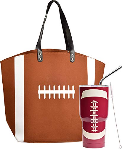 Football Gifts, Football lover Gifts Set, Football Mom Gifts, Football Tote Bag for Woman, Football Tumbler, Football Mom Tote Bag, Football Girl Gifts, Football Bags for Moms, Football Mom Gifts