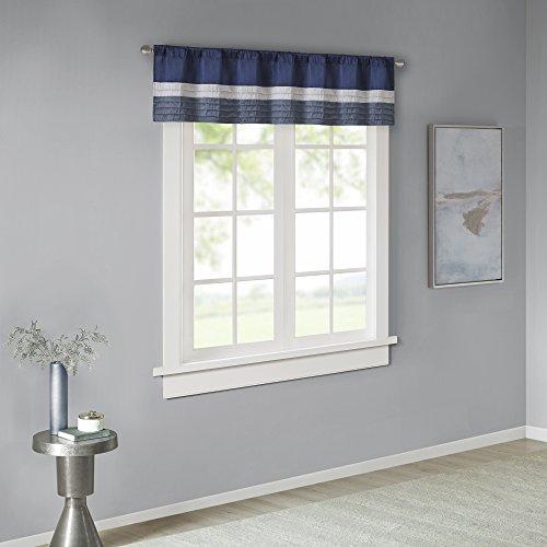 Amherst Polyoni Pintuck Teal Gray Window Valance , Modern Rod Pocket Valances for Windows , 50X18 , Navy