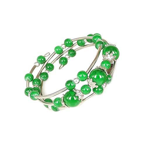 YAZILIND Tibetano Plata Multicapa Color Perlas Pulsera de la Amistad señoras Pulseras Ajustables joyería Verde