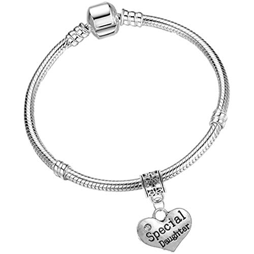 Special Daughter Silver Starter Charm Bracelet with Pendant and Gift Box (17cm (Age 7-12 Years))