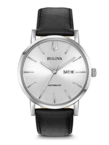 Bulova orologio uomo automatico cassa acciaio cinturino pelle 96c130