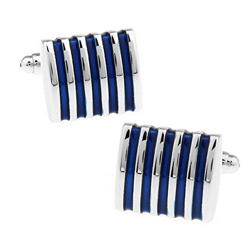 Qinlee Manschettenknöpfe Blau Gestreift Muster Herren Hülse Nagel Hemd Mode Zusätze in Hochzeit Geburtstag Bankett Vorzügliche Geschenk für Du liebst jemanden 1 Paar