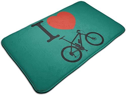HUAZAI I Love Mountain Bike Doormat Floor Mat Nonslip Bath Rug Door Mat Outdoor Welcome Entrance Carpet 50x80cm