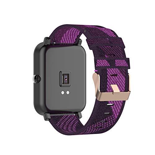 Tencloud Correa compatible con Garmin Venu Sq/Venu, correa ligera de tela de nailon a rayas, banda de repuesto para reloj inteligente Venu/Venu Sq/Venu Sq Music GPS (morado)
