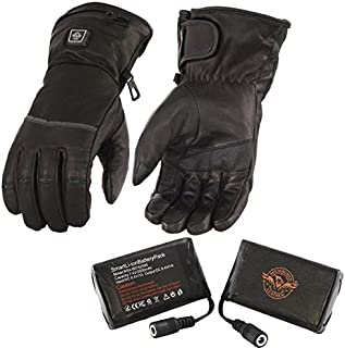 Milwaukee Leather MG7513SET Men's Black'Heated' Leather Gauntlet Waterproof Gloves with i-Touch (Battery Pack Included) - Large