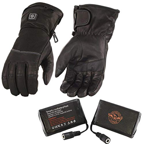 Milwaukee Leather MG7513SET Men's Black 'Heated' Leather Gauntlet Waterproof Gloves with i-Touch (Battery Pack Included) - Large