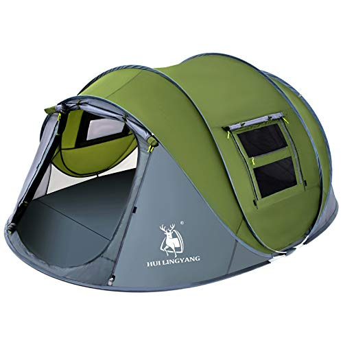 HUI LINGYANG 4 Person Easy Pop Up Tent-Automatic Setup Sun Shelter for Beach- Instant Family Tents for Camping,Hiking & Traveling