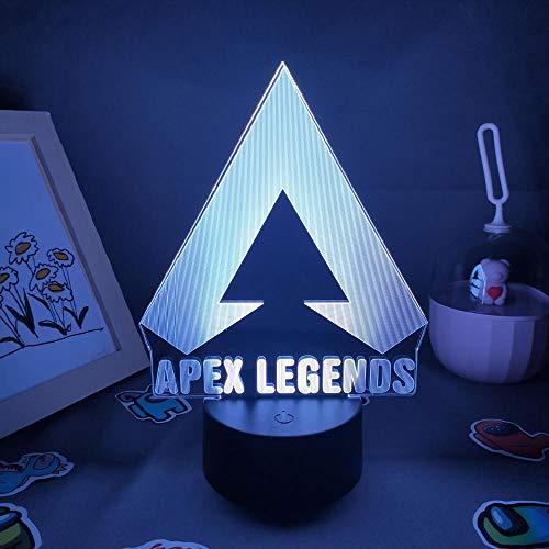 Lámpara de ilusión 3D Apex Legends genial para un amigo Dormitorio encantador Mesita de noche Sala de juegos Mesa Escritorio Mark Decor-Negro _7_Color_No_Remote