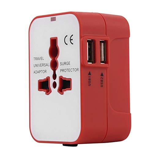 Adaptador Enchufe De Viaje Universal Enchufe Adaptador Internacional con Dos Puertos USB para Japón China Canadá USA EU UK AU Acerca De 150 Países Y Seguridad De Fusibles