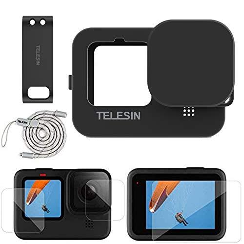 TELESIN Zubehör-Set für GoPro Hero 9 schwarze Silikon-Gummi-Schutzhülle + Objektivdeckel + Gurt + 4 x ultraklare Displayschutzfolien + 2 x HD-Objektivschutz + 1 x Akkudeckel für GoPro Hero 9