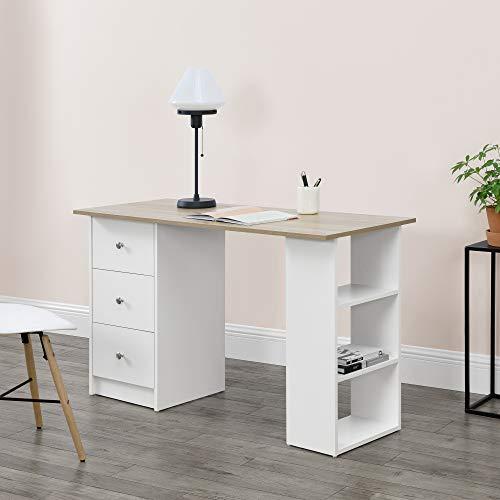 [en.casa] Mesa Escritorio Escritorio de Ordenador 120 x 49 x 72 cm 3 Compartimientos y 3 Cajones Mesa de Oficina Blanco Tablero de Mesa de Color Roble