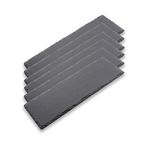 HANHAN 6 Teller aus schwarzem Schiefer, Antipasta-Platte aus Naturstein, Schieferplatte für Käse, Aperitif, Sushi und mehr (30 x 10 cm)