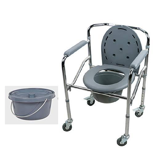 Folding Toilettenstuhl, Toilettenstuhl auf Rollen - Portable - höhenverstellbar, Aluminium Duschstuhl - für schwere Beanspruchung (500 lbs)