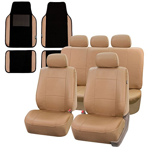 FH Group PU002115 Premium PU Leather Seat Covers (Tan) Full Set w. F14408 Carpet Liners – Universal Fit for Cars Trucks and SUVs
