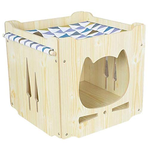 S-Lifeeling Wooden Cat House with Hammock Stackable Collapsible Cat Kity Cube Room Splicing Cat...