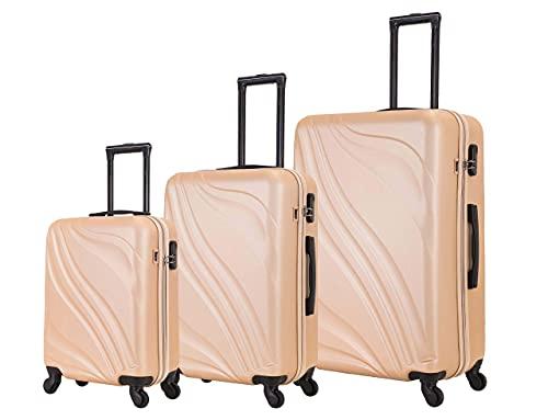 French-World Koffer mit 3 robusten und robusten Fächern, 50 cm, 60 cm, 70 cm, Kamin