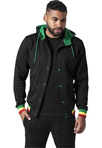 Urban Classics Hooded College Sweatjacket Veste de Sport, Multicolore (Noir/Rasta 43), S Homme