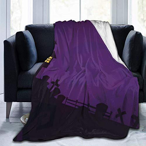 Searster$ Fleece Blanket Halloween Spaventoso Cimitero Spettrale E Casa Infestata Di Notte Coperta Da Tiro Stampata Ultra Soft Per Bambini Adolescenti Adulti 50X40In