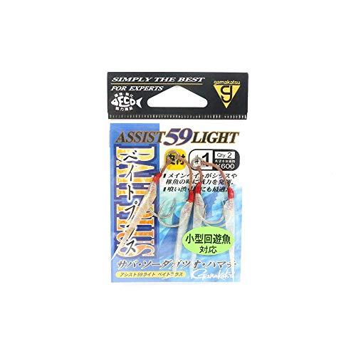 がまかつ(Gamakatsu) アシストフック アシスト59ライト ベイトプラス 2号 2組 シルバー 68169