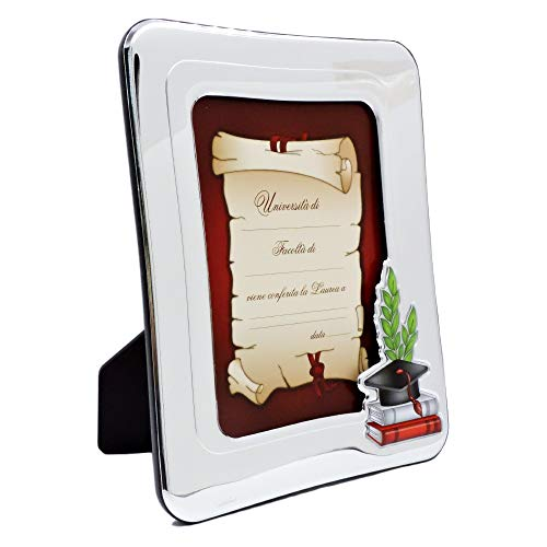 Valenti&Co - Cornice Porta Foto in Argento per conservare Le fotografie e i ricordi della Cerimonia di Laurea - Idea Regalo fornita di Scatola