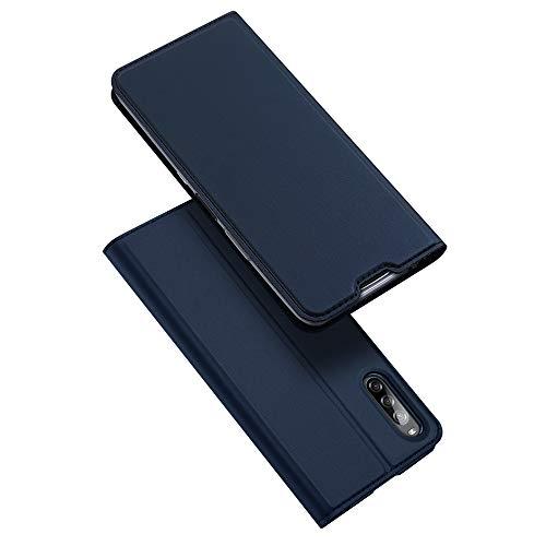 DUX DUCIS Hülle für Sony Xperia L4, Leder Klappbar Handyhülle Schutzhülle Tasche Hülle mit [Kartenfach] [Standfunktion] [Magnetisch] für Sony Xperia L4 (Blau)