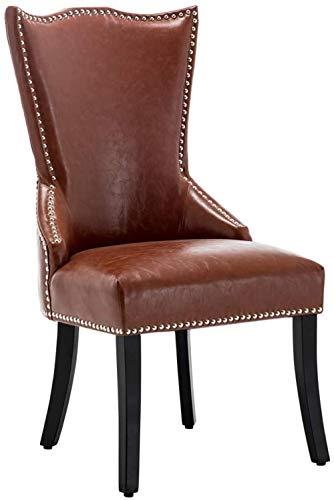 ZXCN Juego de sillas de Comedor de 1 Silla de Cocina Vintage tapizada en Piel sintética marrón con Respaldo Alto y Patas de Madera para Dormitorio de Restaurante