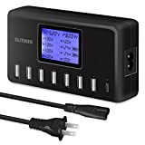 USB Charger, slitinto 60W 12A 8-Port USB Charging Station Multi Port USB Hub Charger Compact Size LCD Display Compatible with iPhone iPad Samsung Kindle Tablet Bluetooth Earbuds and More…