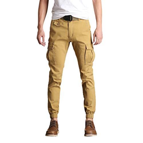 Makalon herenbroek, elastische taille, klassieke stijl, herenbroek, comfortabel, slim, joggingbroek, elastische riem, sport-kaki, 32)