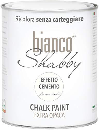 Chalk Paint EFFETTO CEMENTO Extra Opaca per Mobili e Pareti Colore Bianco Naturale (1 Litro)