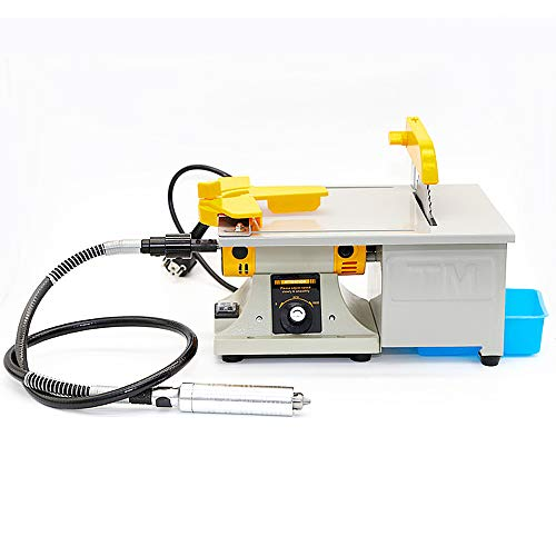Professional Jewelry Polishing Engraving Machine,350W Portable DIY Rock Polisher Bench Buffer TM-2,Mini Table Saw Kit for Gem Metal Woodworking with Complete Accessories (110V)