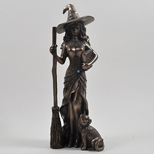 Bronze Colour Witch and Black Cat Gift Ornament Figurine