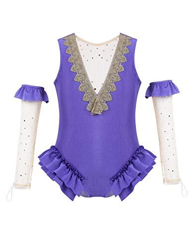 YOOJIA Niñas Maillot de Actuación Maillot de Ballet Danza con Manguitos Leotardo Gimnasia Body Baile(3-8 Años) Lavanda 6 Años