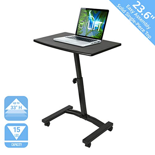 Seville Classics 23.6' Solid-Top Height Adjustable Mobile Laptop Desk Cart (20.5' to 33' H) Ergonomic Table, Black