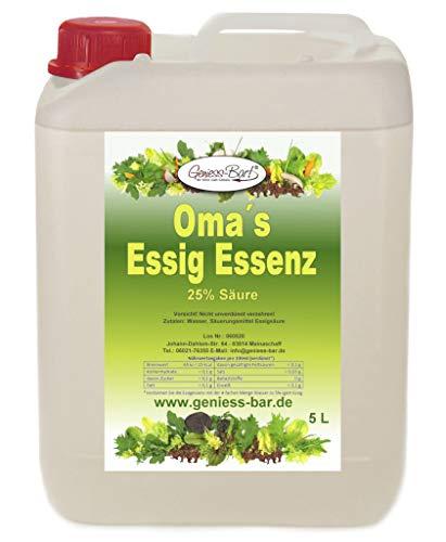 Oma`s Essigessenz 25 Prozent Säure 5 L für die gute Küche & Haushalt Entkalken & Reinigen ohne Chemie