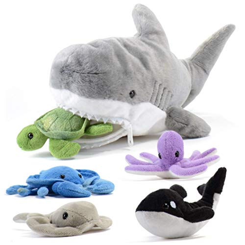 Prextex 15-Inch Plush Shark with 5 Piece Soft Stuffed Sea Animals Includes Stuffed Octopus, Crab, Turtle, Stingray, and Blue Whale
