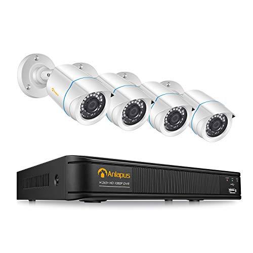Anlapus 1080P CCTV Kit Sistema de Vigilancia 8 Canales H.265+ Videograbador DVR con 4 Cámara de Seguridad, sin Disco Duro, Visión Nocturna, Alarma Email
