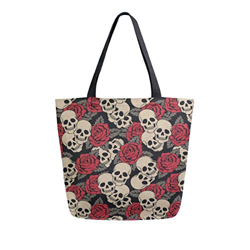 """❤Size: 13.5"""" x 5.1""""x 15""""(L x W x H). These Heavy Duty canvas grocery bags have long cloth handles which make it very easy to carry your grocery items to your car by leaving the cart at the entrance.You could easily carry in your hand, over your shoul..."""