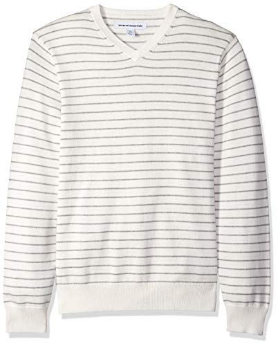 Amazon Essentials Men's V-Neck Sweater, Off/White/Light Grey Heather Stripe, X-Large