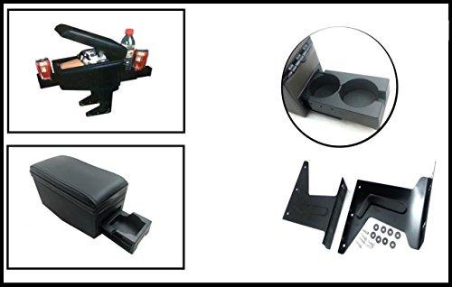 Reposabrazos negro universal para asiento de coche con compartimento de almacenamiento central y soportes posavasos en la parte delantera y trasera