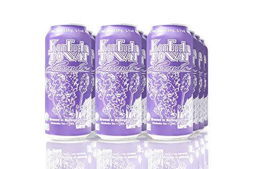 Organic Kombucha Tea Drink by Kombucha Town | Live Cultured Sparkling Energy Drink | Lavender Flavor | 16 Oz Can, 12-Pack