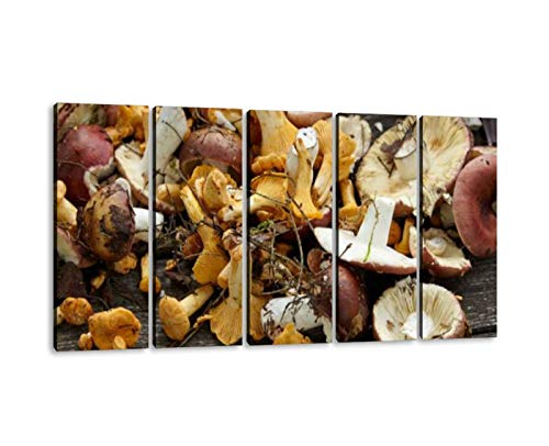 KiiAmy 5 Panels Art Wall Decor Picked Chanterelle Mushrooms on The Wooden Table Artwork Modern Canvas Prints Office Bedroom Home Decor Framed Painting Ready to Hang (60''Wx32''H)