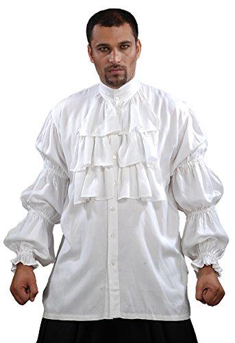 ThePirateDressing Pirate Ruffled Seinfeld Puffy Shirt (Small/Medium) White