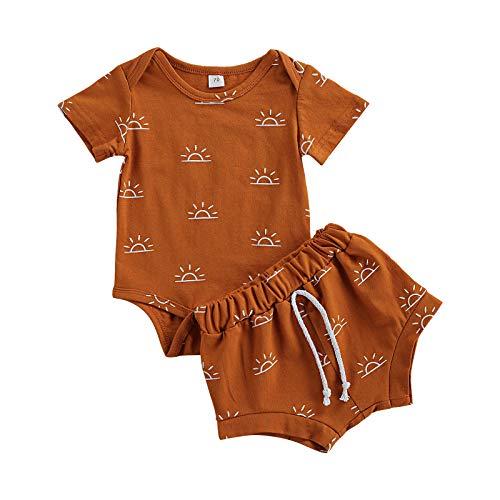 Unisex recién nacido bebé niña niño conjunto de ropa sol impresión volantes manga mameluco Top+Bloomer pantalones cortos bebé verano trajes